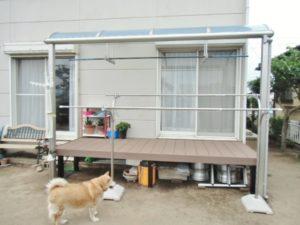 熊本市東区S様邸 テラス屋根・ウッドデッキ取付工事